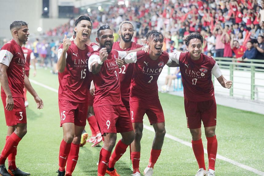 Second-half goals from Shakir Hamzah (second from right) and Song Ui-young gave Home the 2-0 win last night. They play a two-legged inter-zonal tie with North Korean side April 25 Sports Club on Aug 21 and 28 next.