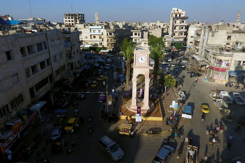 The Clock Tower in the rebel-held Idlib city, Syria, on June 8, 2017.