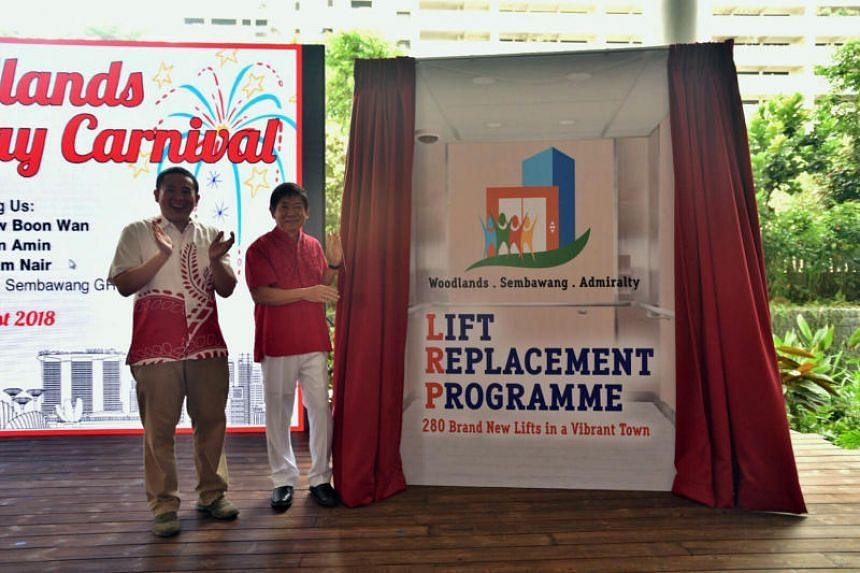 By June 2020, lifts in 135 HDB blocks in the older neighbourhoods in Sembawang GRC, including Woodlands and Admiralty, will be replaced.
