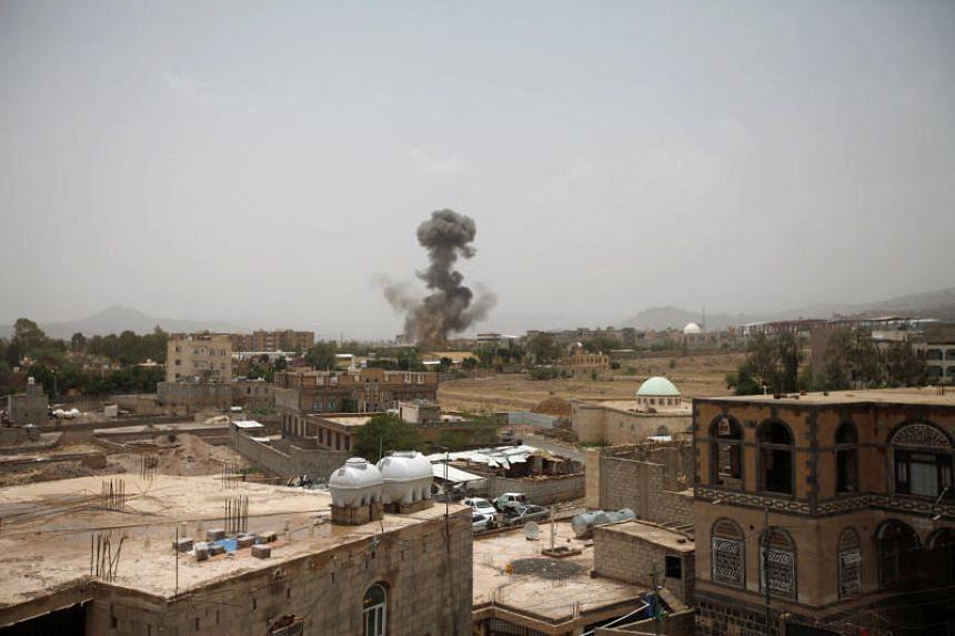 Smoke rises after an air strike in Sanaa, Yemen, on Aug 9, 2018.