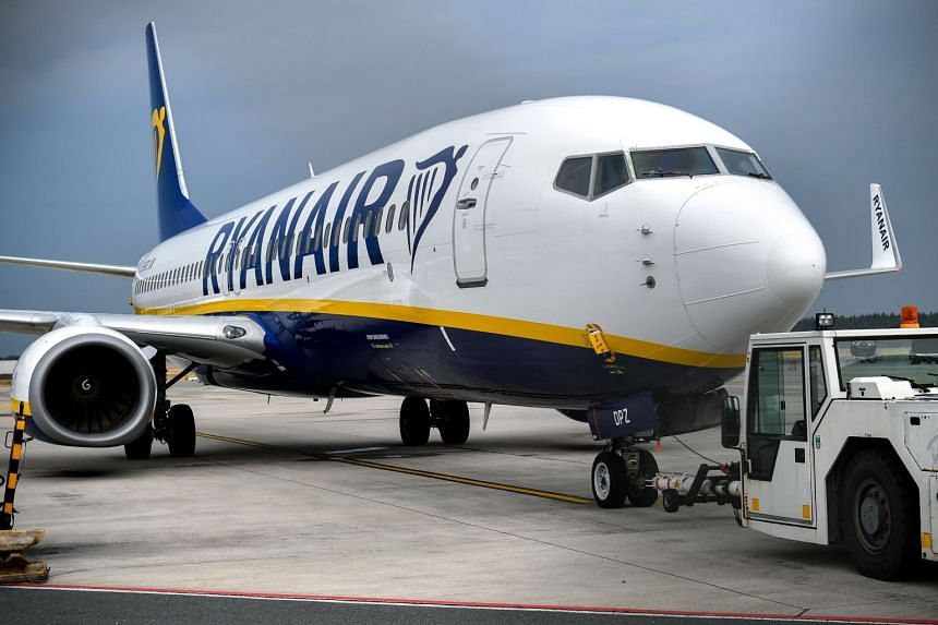 A Ryanair plane stands on the tarmac at Niederrhein airport in Weeze, Germany.