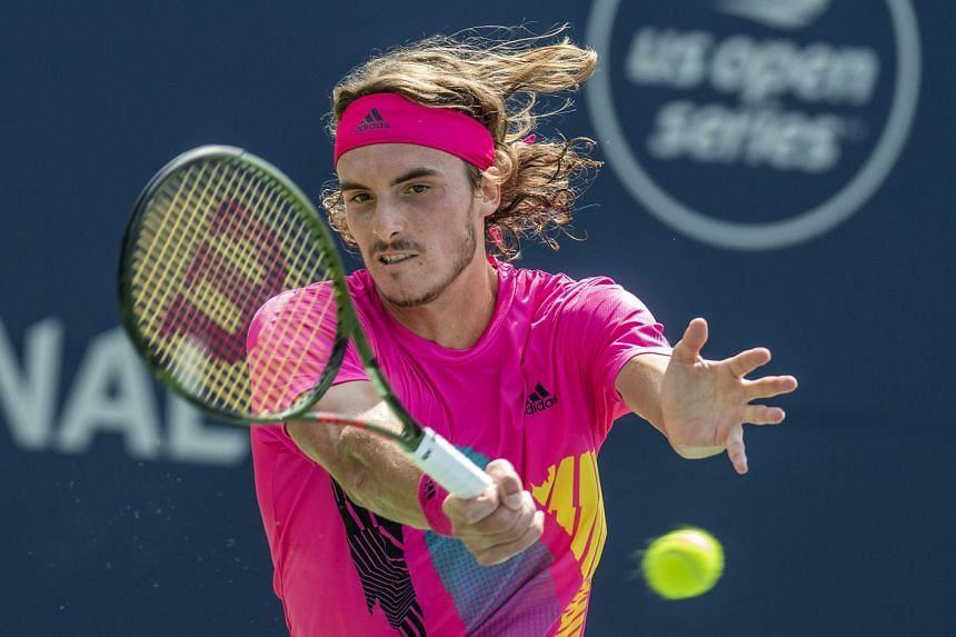Tsitsipas in action during the Citi Open tennis tournament in Washington, DC.