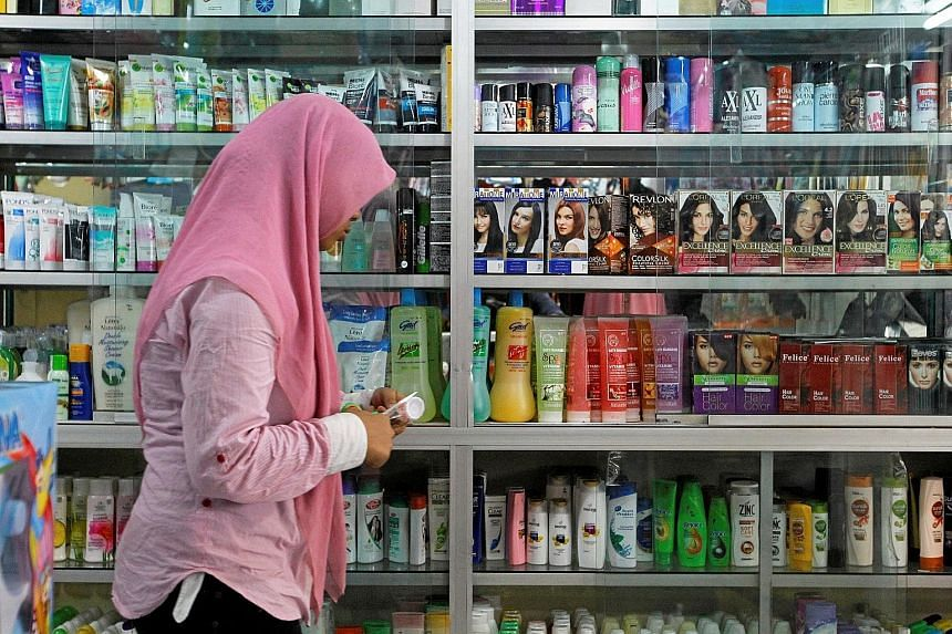 A beauty products shop in Jakarta. Consumer products are required to carry halal certification, under regulations expected as early as next month.