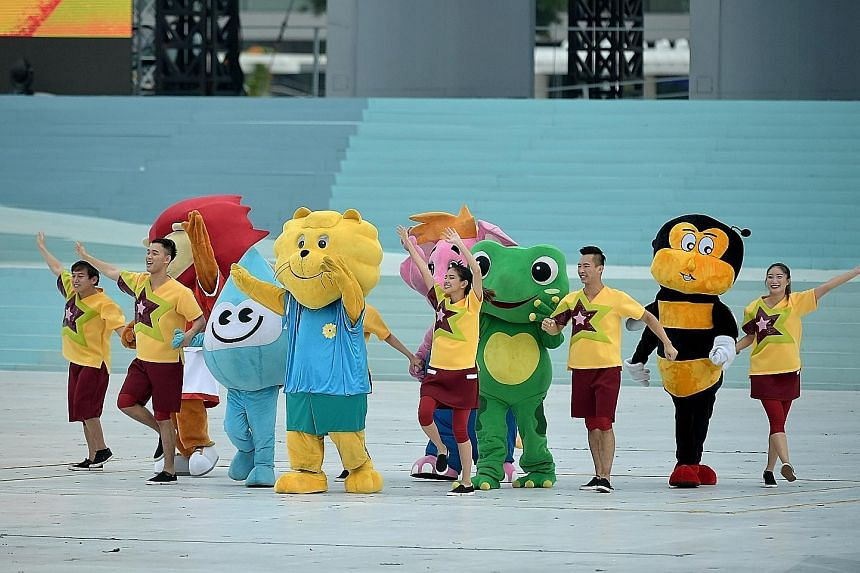 A dose of mascot magic helping to energise the audience during the pre-parade segment. The cuddly Singapore icons are (from left) Nila the Lion, Water Wally, Singa the Courtesy Lion, Sharity, Captain Green and Teamy the Bee.