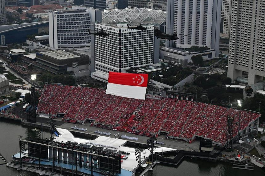 The state flag flypast during the National Day Parade, on Aug 9, 2018.