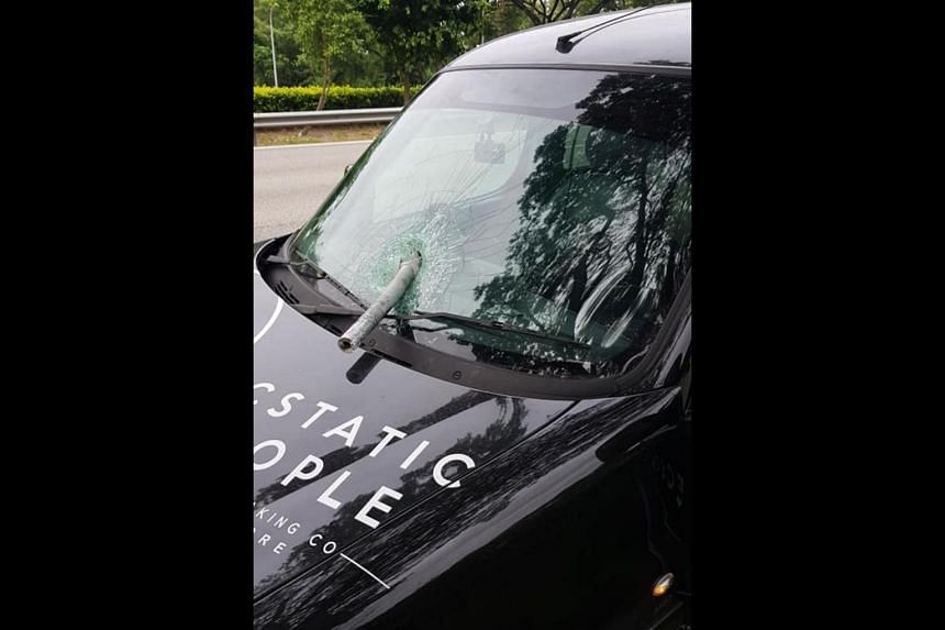 The 31-year-old driver said in a Facebook post on Aug 10, 2018, that he was lucky that the piece of metal did not hit his face as it pierced the glass.