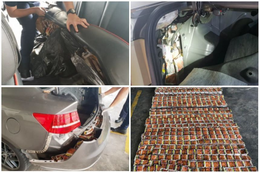 Thousands of sachets of illegal tobacco were stashed in the back seat, rear bumper, side panels, skirting and even the spare tyre of the car.