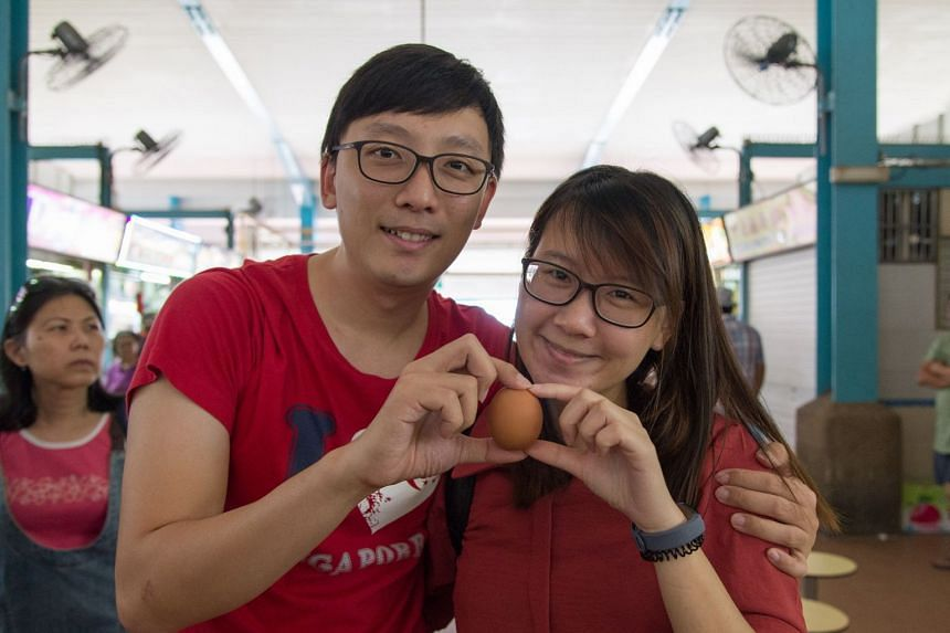 Mr Chen Hongjie, 29, and his girlfriend Phoebe Tham, 26, both PhD students, went with an egg to qualify for the 50 cents promotion.