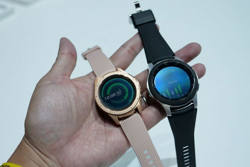 Samsung's new Galaxy Watch in rose gold 42mm model (left) and the silver 46mm model.