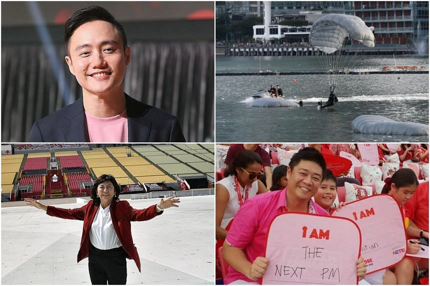 """(Clockwise from top left) Mr Boo Junfeng, the youngest creative director for the National Day Parade, divers from the Naval Diving Unit, creative responses to the open-ended statement """"I am..."""", and Ms Lim Jiuan, the conductor of this year's NDP choi"""