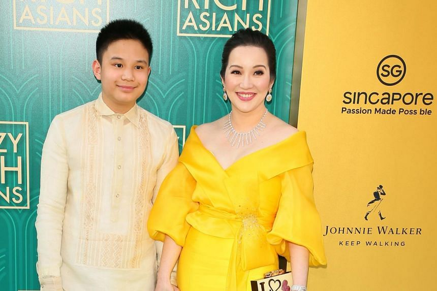 Actress Kris Aquino (right) and her son actor Bimby Aquino Yap attends the premiere of Warner Bros Pictures' Crazy Rich Asians in Hollywood, California, on Aug 7, 2018.