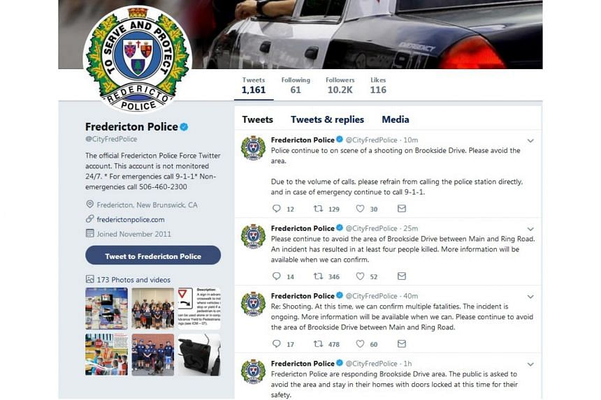 The Fredericton police said in a post on Twitter the incident was ongoing and there were multiple fatalities.