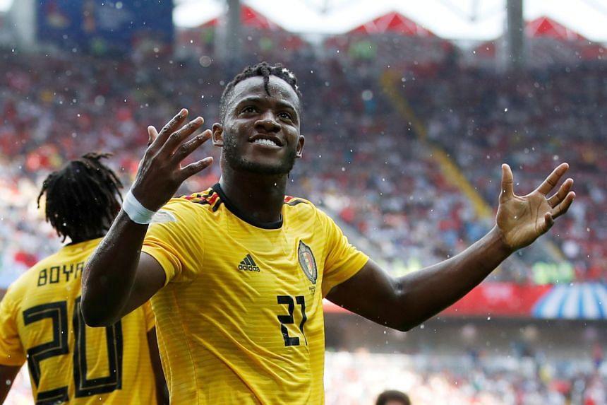 Belgium's Michy Batshuayi celebrates a goal during the 2018 World Cup.