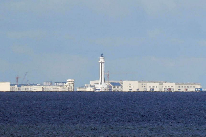 File photo showing Chinese structures floating on the South China Sea.