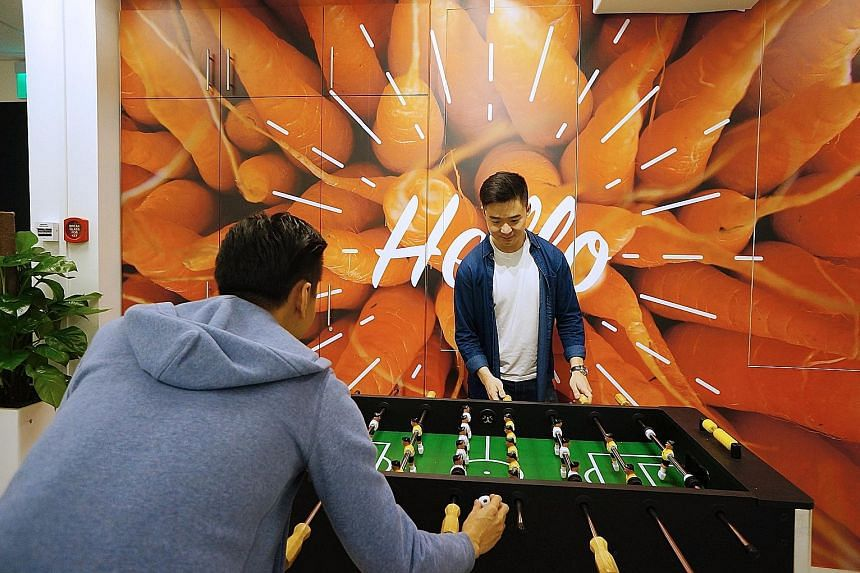 A foosball table, gym and sauna facilities are used to draw student and young entrepreneurs to The Carrot Patch.