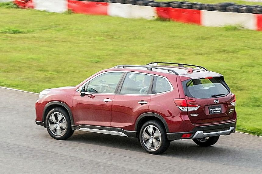 The Subaru Forester has a brake-based torque vectoring system that allows for surprisingly aggressive cornering speeds.