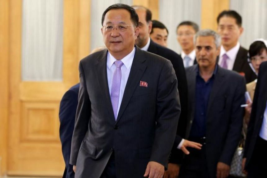 North Korea's Foreign Minister Ri Yong Ho arrived in Teheran on the same day as the United States reimposed sanctions after abandoning a 2015 nuclear deal between major powers and Iran.