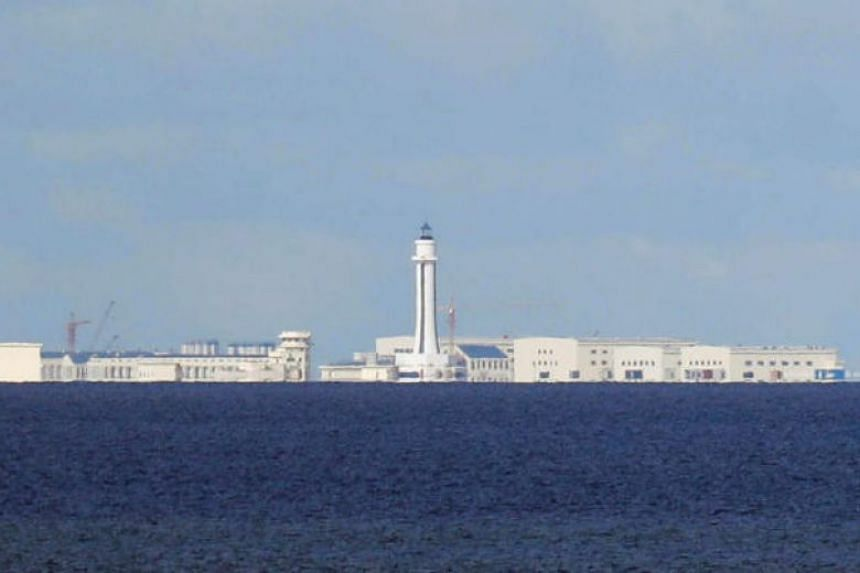Chinese structures are pictured at the disputed Spratly Islands in South China Sea, on April 21, 2017.