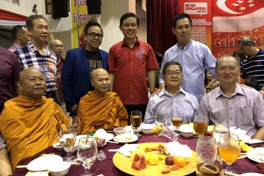 Minister for Trade and Industry Chan Chun Sing (centre) interacting with participants of the Tanjong Pagar-Tiong Bahru National Day Dinner, at Tanjong Pagar Community Club, on Aug 11, 2018.