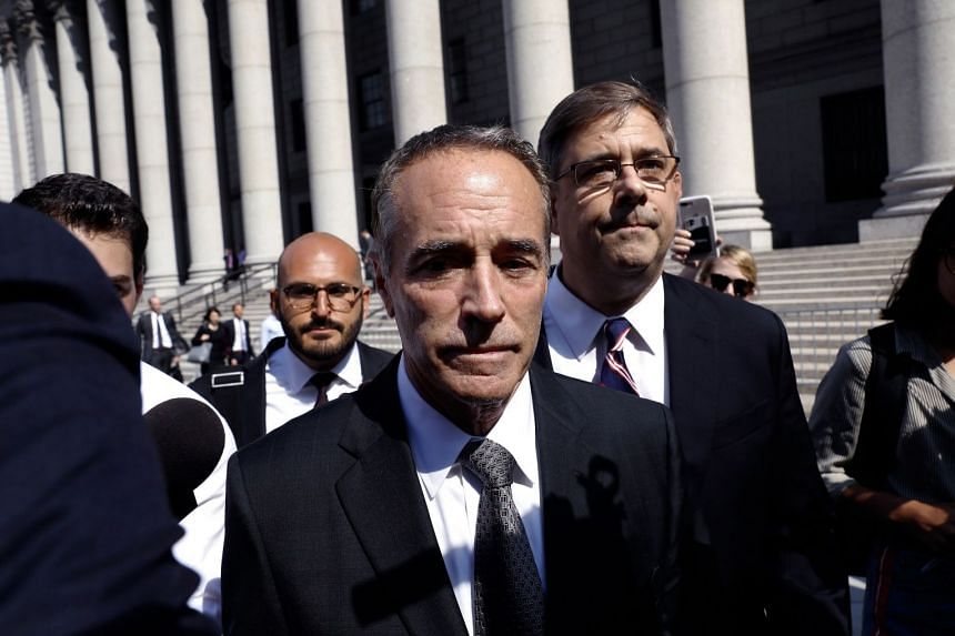 Collins, a Republican from New York, exits federal court in New York on Aug 8, 2018.