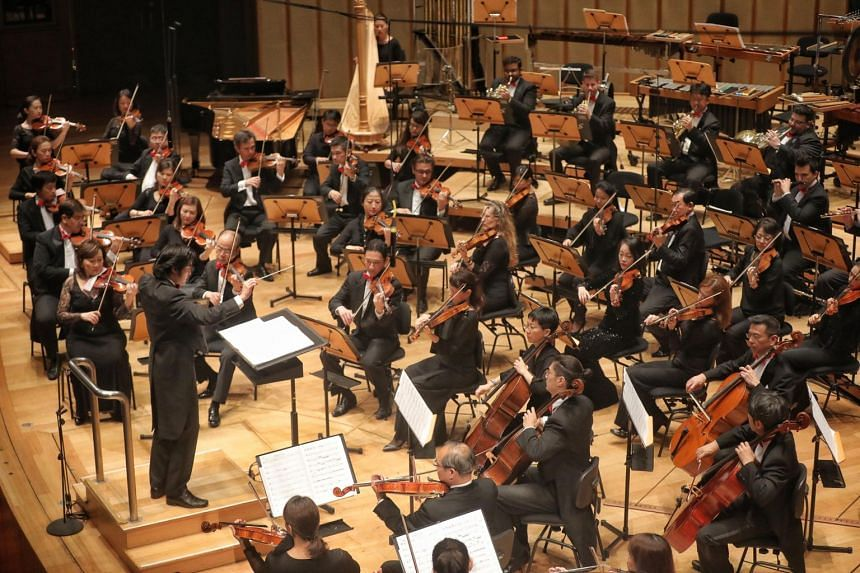 The Singapore Symphony Orchestra perform their National Day concert at the Esplanade, on Aug 11, 2018.