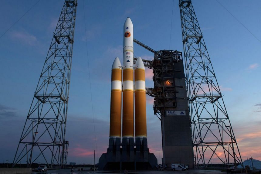 This handout photo released by NASA shows the United Launch Alliance Delta IV Heavy rocket with the Parker Solar Probe, on Aug 10, 2018, at Launch Complex 37 at Cape Canaveral Air Force Station in Florida.