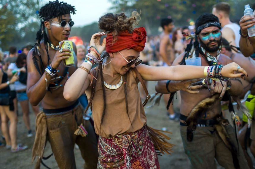 Revellers on the third day of the 26th Sziget Festival on Shipyard Island, Northern Budapest, Hungary, on Aug 10, 2018.