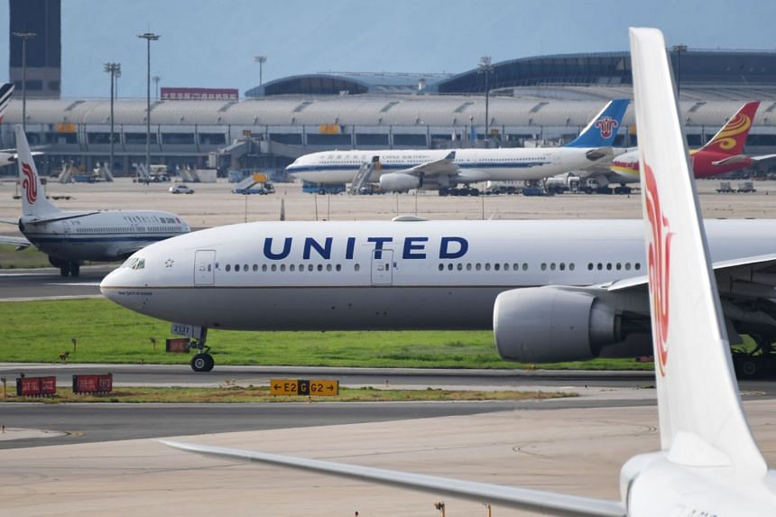 File photo showing a United Airlines Boeing 777 aircraft waiting to take off at Beijing airport, on July 25, 2018.