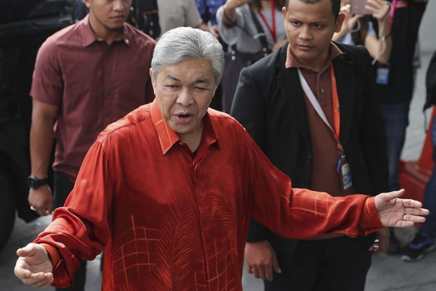 File photo showing former deputy prime minister of Malaysia Zahid Hamidi arriving at Malaysian Anti-Corruption Commission headquarters in Putrajaya, Malaysia, on July 2, 2018.