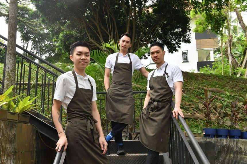 From left: Chefs Marcus Leow, 26; Desmond Shen, 25; Abel Su, 29; of Magic Square.
