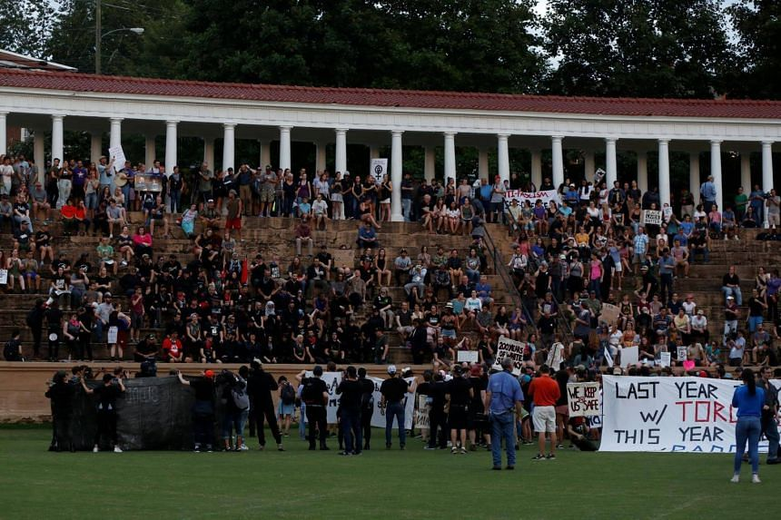 Protesters marching at Lambeth field at the University of Virginia in Charlottesville, on Aug 11, 2018.