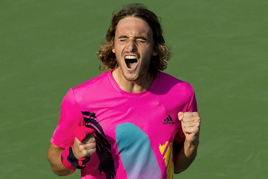 Stefanos Tsitsipas celebrates his win over Kevin Anderson after their semi-final match at the Rogers Cup Men's Tennis tournament on Aug 11, 2018.