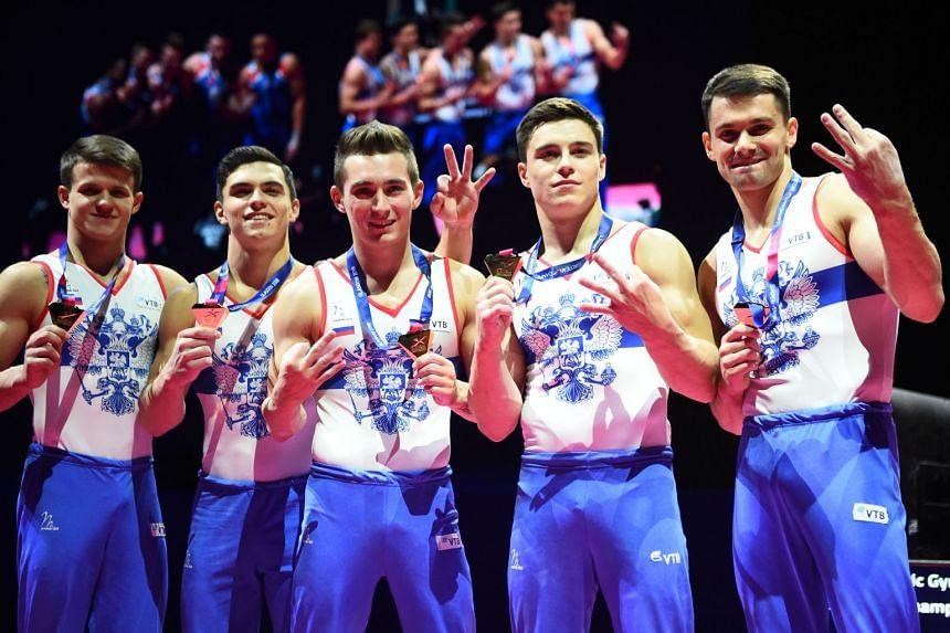 Gold medallists (from left) Nikolai Kuksenkov, David Belyavskiy, Nikita Nagornyy, Dmitrii Lankin and Nikita Dalaloyan.