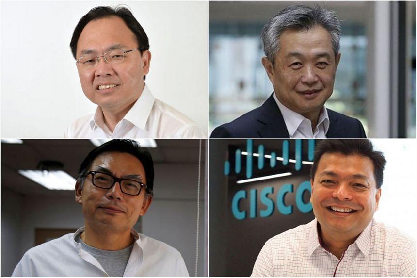 (Clockwise from top left) MP Liang Eng Hwa, entrepreneur Tan Kah Chye, Mr Joshua Soh and Mr Mark Phooi.