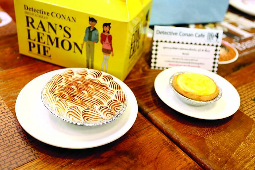 Shinichi's Favourite Lemon Pie a Cheese Tart from the pop-up Detective Conan Cafe.