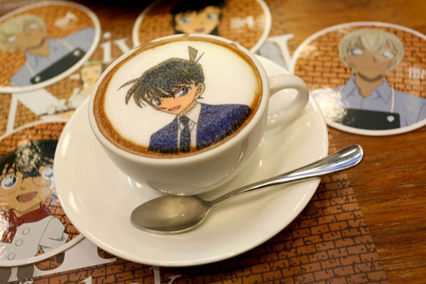 Hot latte from the pop-up Detective Conan Cafe.