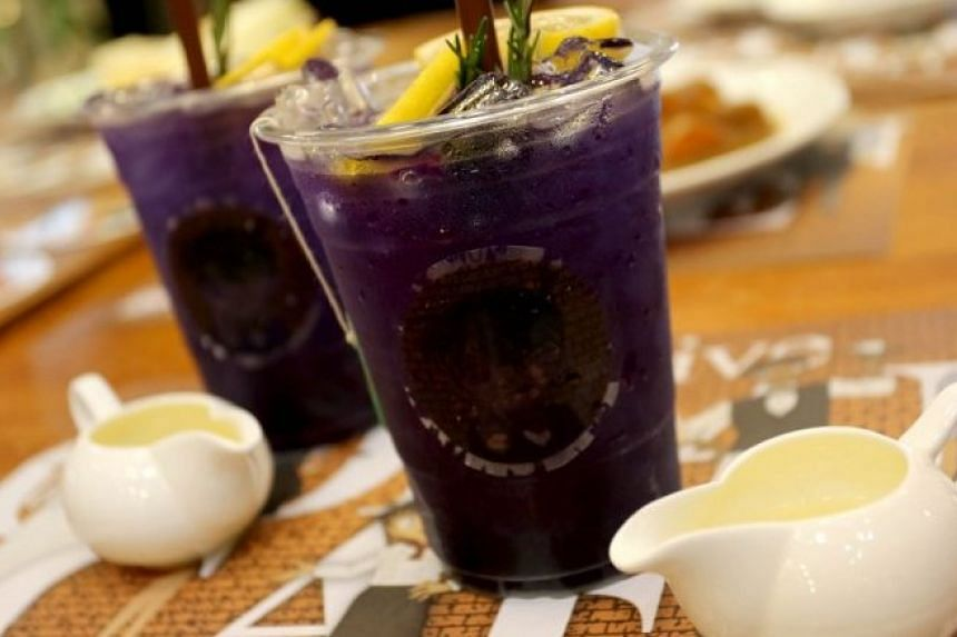 Detective Conan's Herbal Butterfly Pea Tea from the pop-up Detective Conan Cafe.