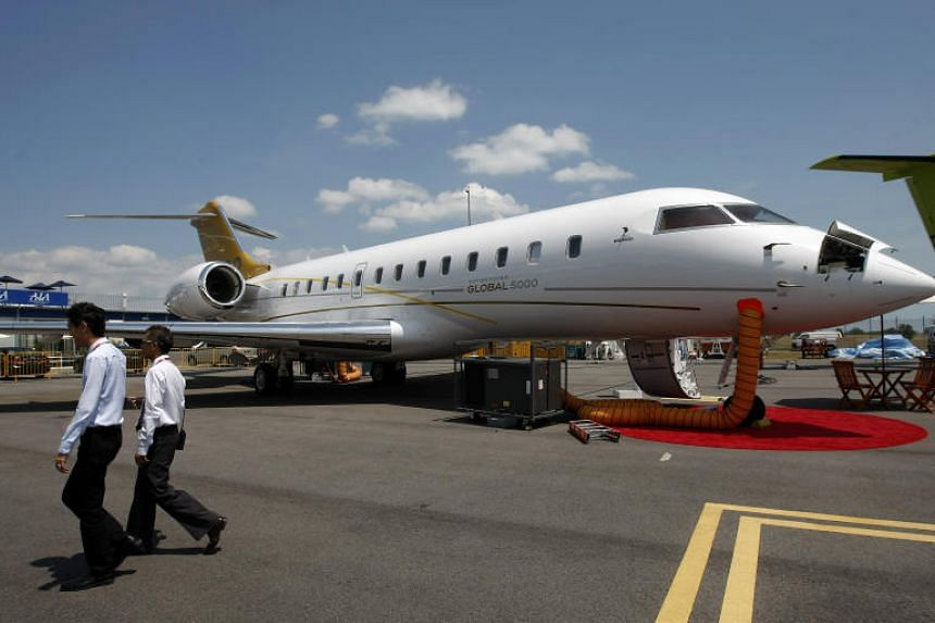 A Bombardier Global 5000 aircraft at Singapore Airshow 2010. The Malaysian government is looking to bring home a Bombardier Global 5000 said to belong to fugitive businessman Low Taek Jho.