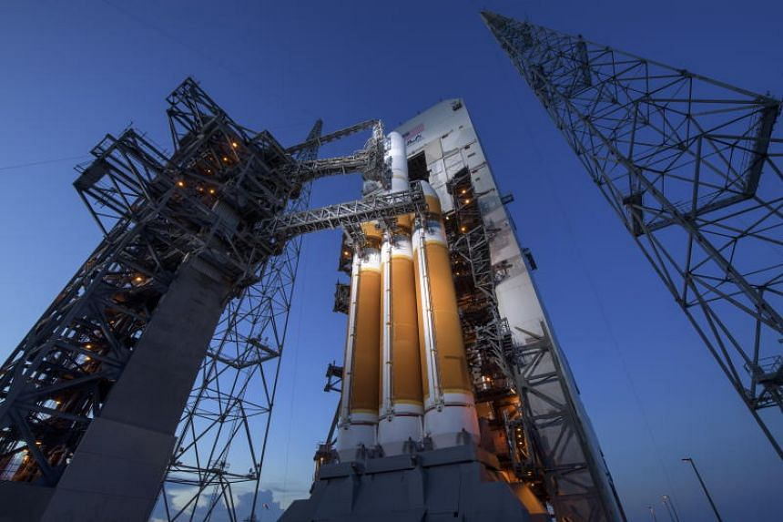 The United Launch Alliance Delta IV Heavy rocket with the Parker Solar Probe onboard at Cape Canaveral Air Force Station in Florida on Aug 11, 2018.