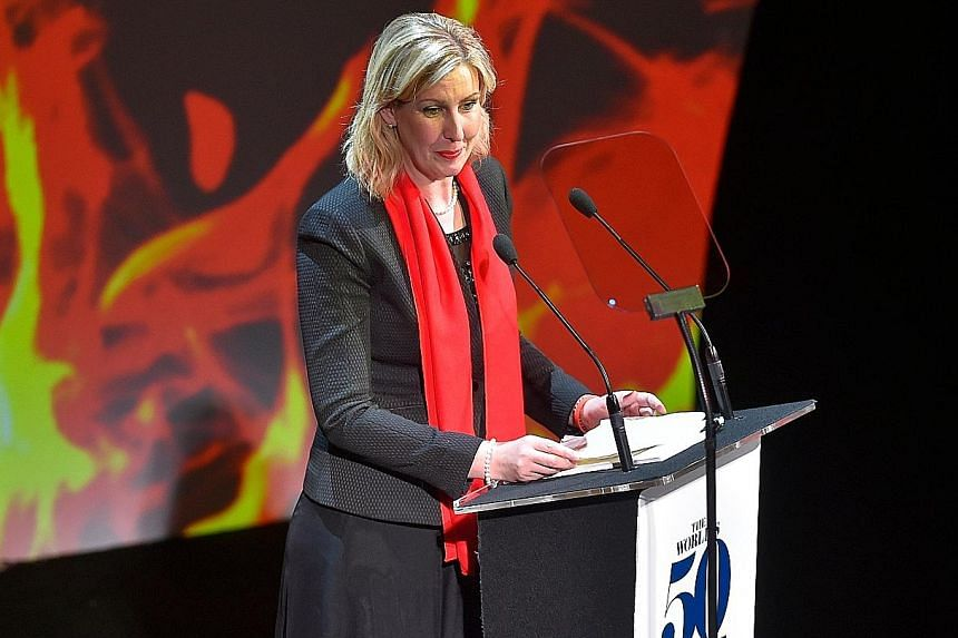 British chef Clare Smyth receiving the Best Female Chef honour at the World's 50 Best Restaurants awards gala in Bilbao in June.