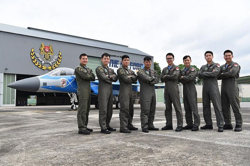 The team of six fighter pilots and two weapon system officers involved in the fighter jets' aerial display: (from left) Cpt Low Wei Liang, Cpt Dominic Wong, Cpt Paul-Matthew Lim, Major Chang Haw Ning, Major Lloyd Lin, Cpt Matthew Foo, Cpt Pee Jun Yon
