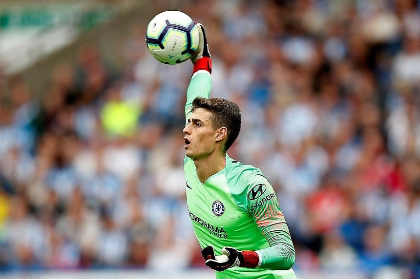 Chelsea's new goalkeeper Kepa Arrizabalaga, who arrived from Spanish club Athletic Bilbao for a world-record £72 million, during their 3-0 win over Huddersfield on Saturday. The previous record fee of £65 million held by Liverpool's Alisson had sto