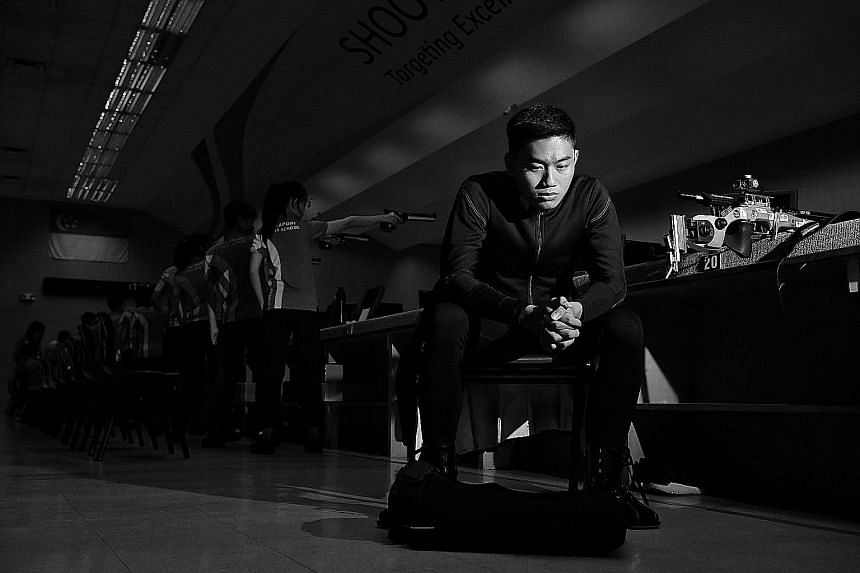 """Mohamad Irwan Abdul Rahman looking sombre in this photo but he likes to smile during competition to """"release the pressure"""". He hopes he will have more reasons to smile when he competes at the Asian Games."""