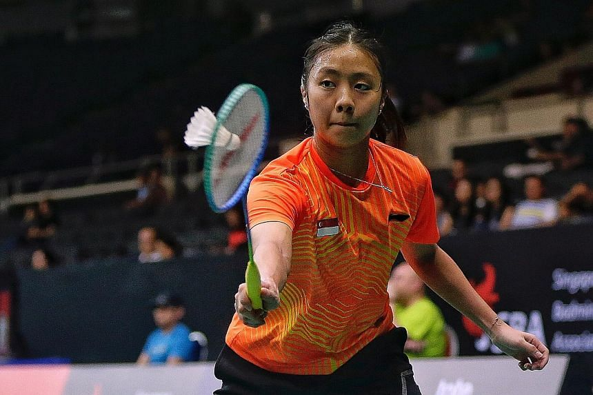 Singapore's Yeo Jia Min trailed by as many as four points in both games yesterday against China's Han Yue - a semi-finalist at the Singapore Badminton Open last month - but rallied to win 21-19, 21-19.