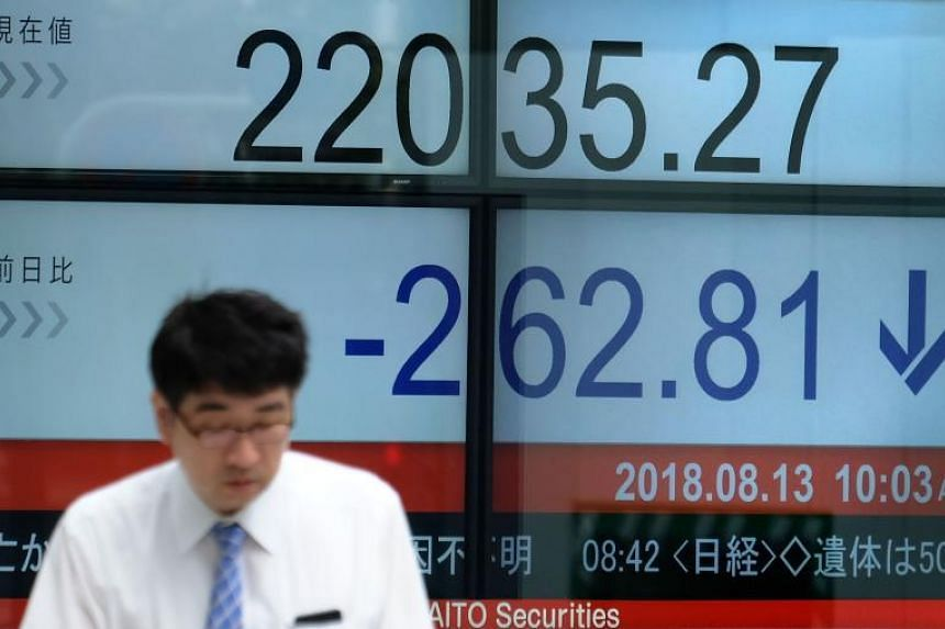 Tokyo stocks slid on Aug 13 as investors watched tension between the US and Turkey that has driven down the lira, fanning fears of possible wider financial instability.