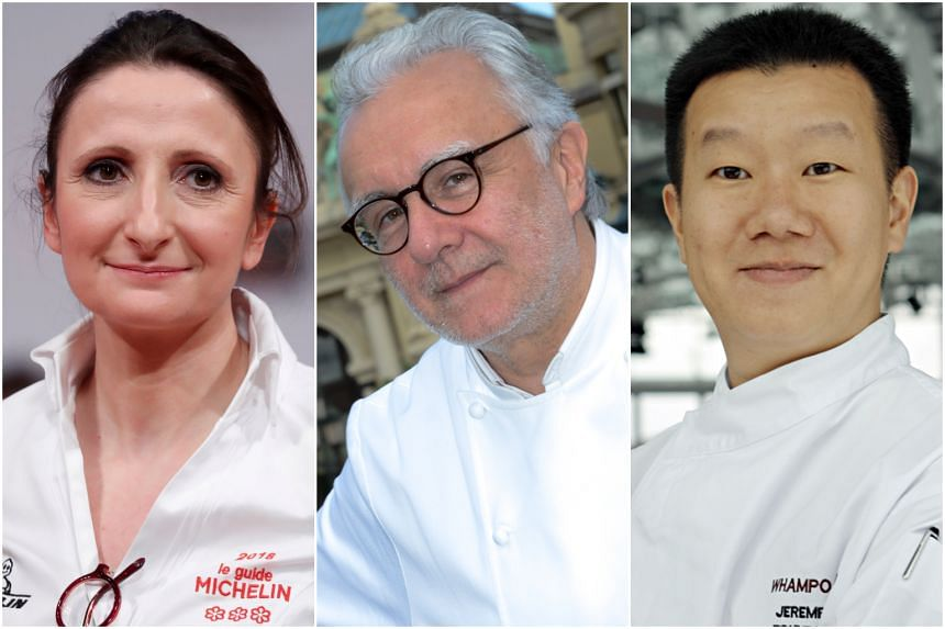 (From left) Chefs Anne-Sophie Pic, Alain Ducasse and Jereme Leung are opening restaurants at the Raffles Hotel.