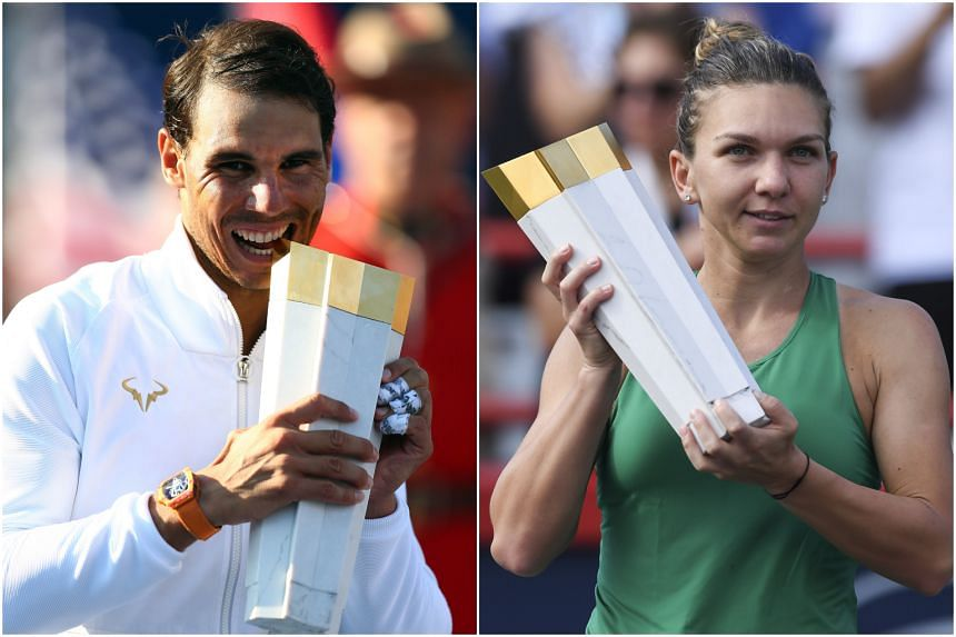 Rafael Nadal (left) and Simona Halep won the fourth Rogers Cup championship and women's title respectively.