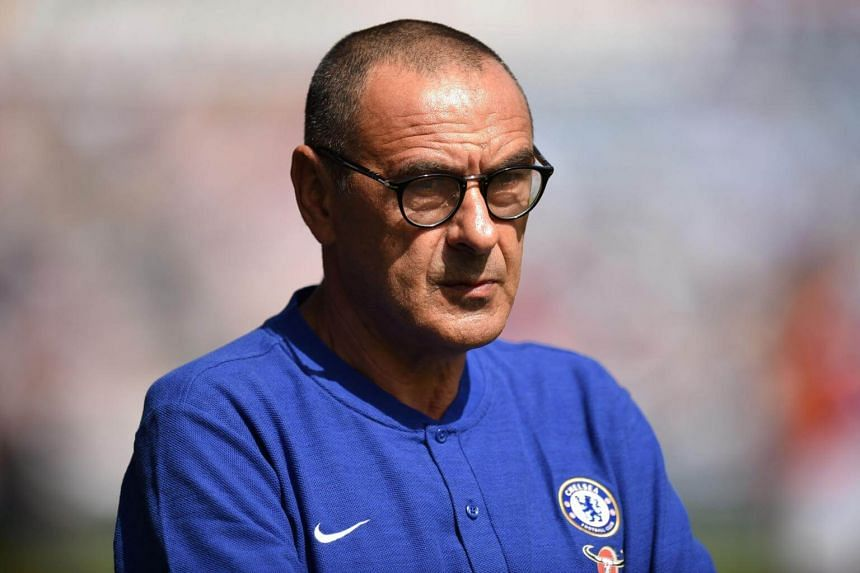 Chelsea's head coach Maurizio Sarri looks on before the English Premier League football match between Huddersfield Town and Chelsea at the John Smith's stadium in Huddersfield, on on Aug 11, 2018.
