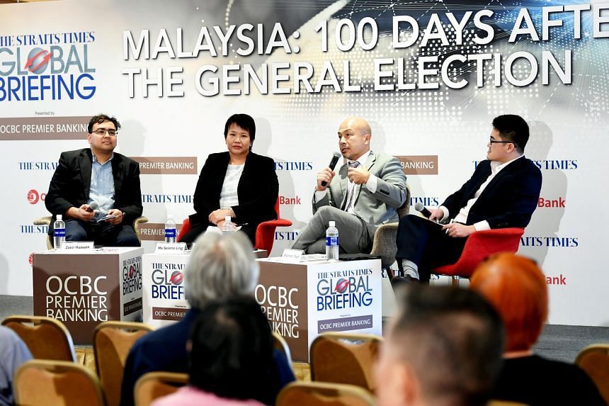 (From left) The Straits Times' Foreign Editor Zakir Hussain, OCBC head of treasury research and strategy Selena Ling, dean of NTU's College of Humanities, Arts and Social Sciences and S. Rajaratnam School of International Studies Joseph Liow , and