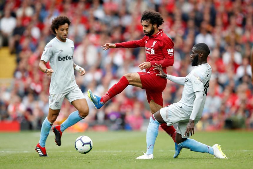 Liverpool's Mo Salah in action against West Ham.